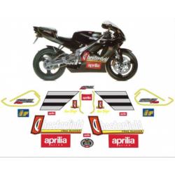 Kit adhésifs Aprilia RS 125 - 1995 - Chesterfield Biaggi Replica - Liseré jaune DEC000001790 DECALMOTO